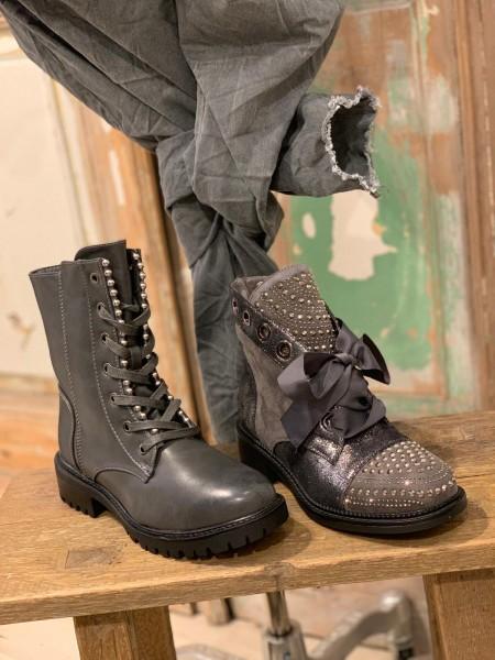 hoher Stiefel mit Glitzer und Schleife grau Gr. 37