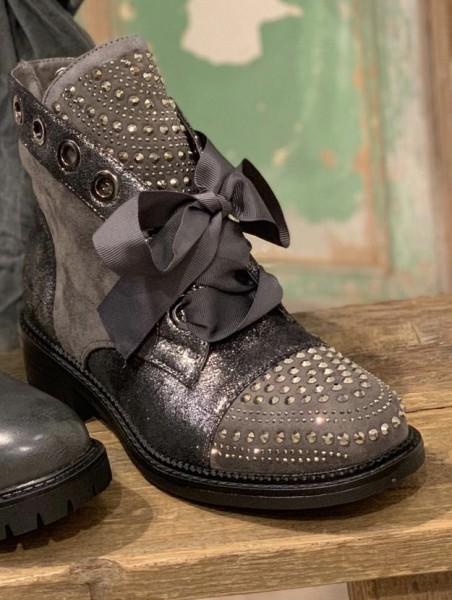 hoher Stiefel mit Glitzer und Schleife grau Gr. 36